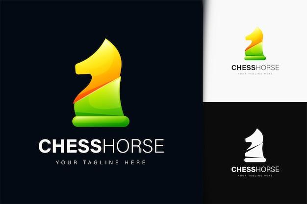 Disegno del logo del cavallo degli scacchi con gradiente