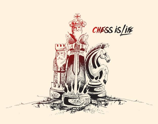 Gli scacchi sono illustrazione vettoriale di schizzo disegnato a mano di vita