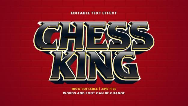 Effetto di testo modificabile del re degli scacchi in stile 3d moderno