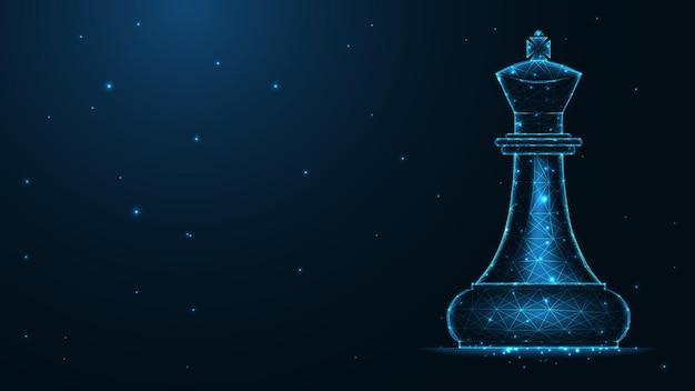 Connessione alla linea del re degli scacchi. design wireframe basso poli. fondo geometrico astratto. illustrazione vettoriale.