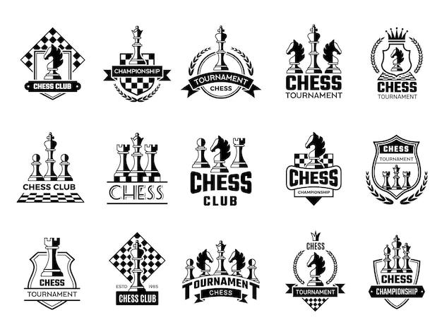 Etichette di scacchi. sport sagome stilizzate di figure di scacchi cavaliere torre pedone illustrazione vettoriale di distintivi. concorso di scacchi emblema, regina e re