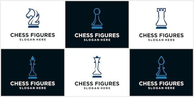 Icona del logo di scacchi. tavola di gioco silhouette illustrazione vettoriale di un pezzo degli scacchi. icona di scacchi. scacchi vettoriali. gioca a scacchi sulla scacchiera. re, regina, torre, cavallo, alfiere, pedone Vettore Premium