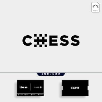 Illustrazione di disegno vettoriale di tipo logo di scacchi, logo tipografico per scacchi con biglietto da visita incluso- vettore