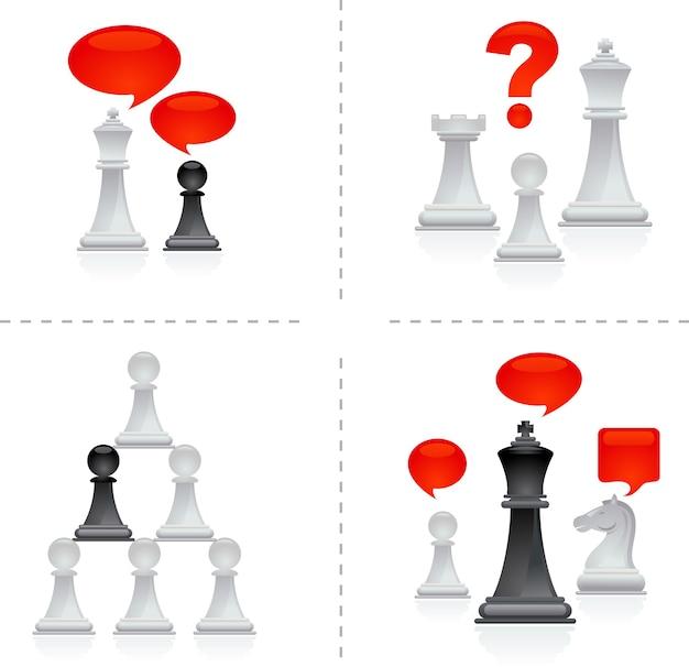 Metafore di scacchi nel mondo degli affari - tema del lavoro di squadra