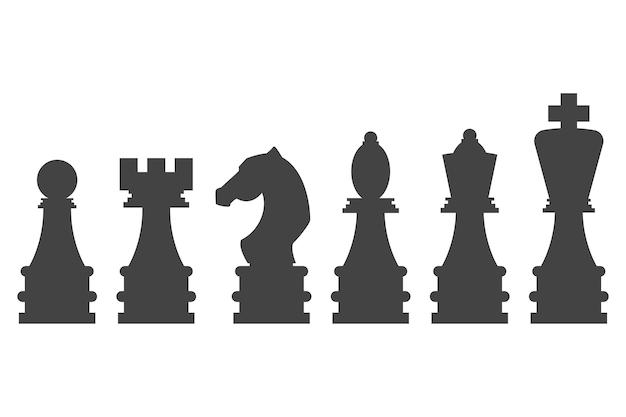 Set di sagome nere di vettore di pezzi degli scacchi isolato su uno sfondo bianco.