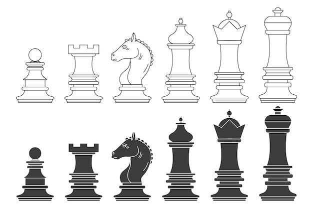 Set di sagome nere di vettore di pezzi degli scacchi isolato su uno sfondo bianco. Vettore Premium