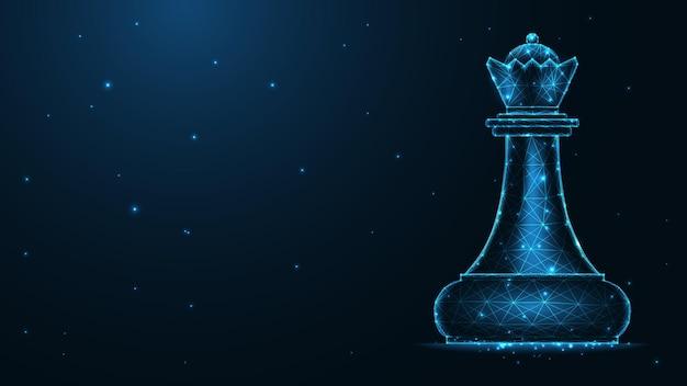 Collegamento della linea della regina degli scacchi. design wireframe basso poli. fondo geometrico astratto. illustrazione vettoriale.
