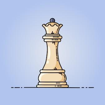 Icona piana di vettore della regina di scacchi
