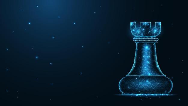 Connessione alla linea della torre degli scacchi. design wireframe basso poli. fondo geometrico astratto. illustrazione vettoriale.