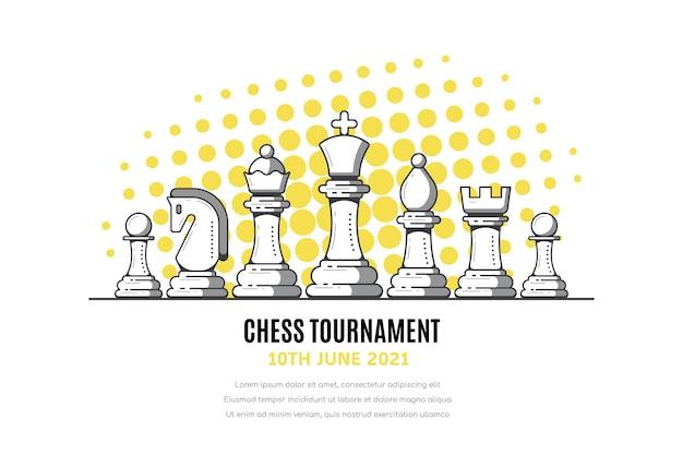 Banner di torneo di scacchi con figure di scacchi su bianco