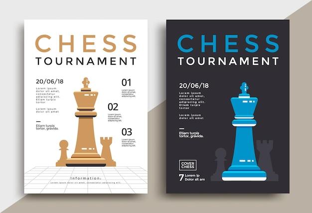 Modello del manifesto del torneo di scacchi. volantino di vettore di gioco sportivo.