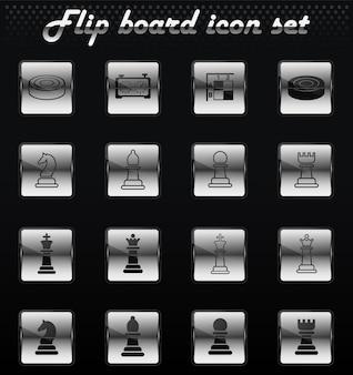 Icone meccaniche flip di vettore di scacchi per la progettazione dell'interfaccia utente