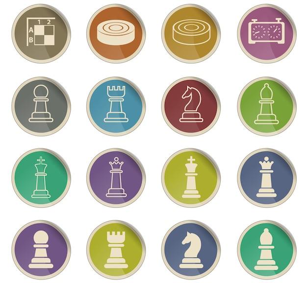 Icone web di scacchi sotto forma di etichette di carta rotonde