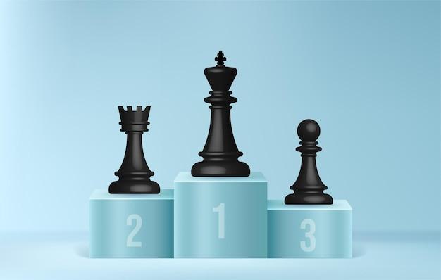 Scacchi sul podio dei vincitori, concetto di leader aziendale, leadership della strategia aziendale e gestione su sfondo minimo