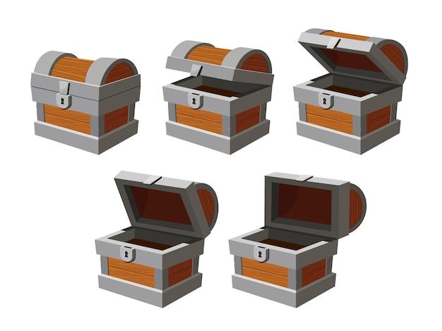 Animazione del petto. strutture di apertura del cofanetto del tesoro vuoto del fumetto. cassapanca antica chiusa con serratura. scatola di legno di gioco con icone vettoriali a copertura aperta