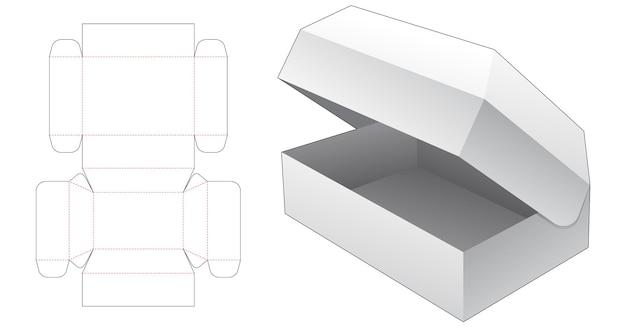 Modello fustellato scatola ribaltabile sul petto