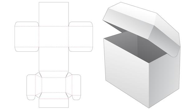 Modello fustellato per scatola di imballaggio ribaltabile sul petto
