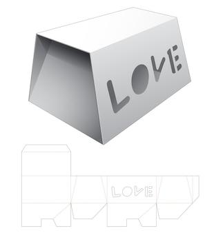 Scatola a forma di petto con modello fustellato di finestra di parole d'amore