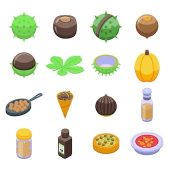 Set di icone di castagno. insieme isometrico delle icone della castagna per il web isolato su priorità bassa bianca