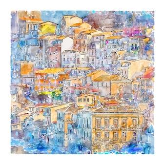 Illustrazione disegnata a mano di schizzo dell'acquerello di chianalea scilla italia