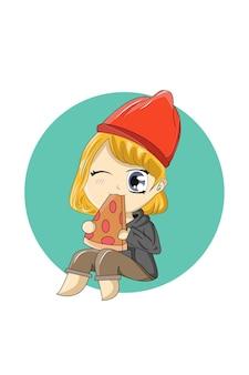 Chibi che mangia il vettore di disegno a mano della pizza