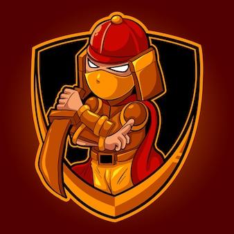Chibi ninja samurai, mascotte esports logo illustrazione vettoriale