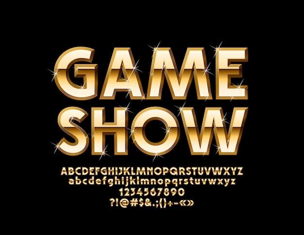 Chic logo game show. lettere, numeri e simboli dell'alfabeto dorato. carattere lucido di lusso.