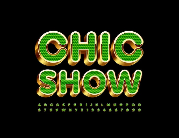 Chic show luxury green and golden 3d font artistic alphabet letters and numbers