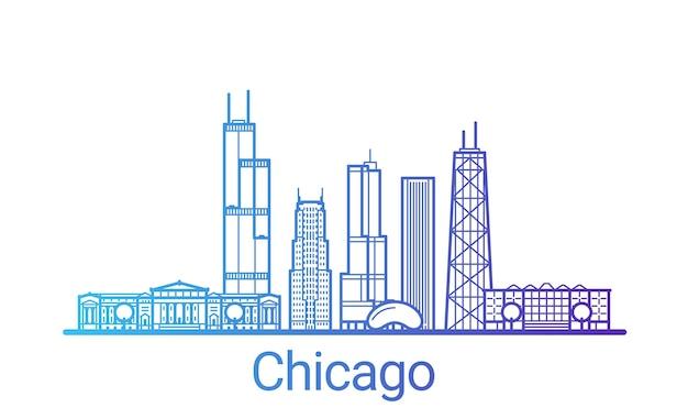 Linea di gradiente colorata città di chicago