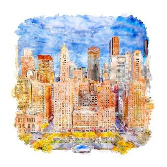 Illustrazione disegnata a mano di schizzo dell'acquerello di chicago illinois