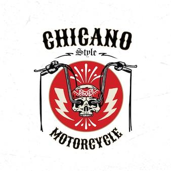 Illustrazione del distintivo del logo del motociclo d'epoca in stile chicano