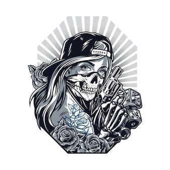 Concetto vintage di stile tatuaggio chicano con ragazza in berretto da baseball e maschera spaventosa scheletro mano che tiene pistola fiori rosa tirapugni dadi in stile monocromatico isolato illustrazione vettoriale