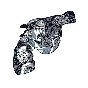 Modello vintage tatuaggio chicano a forma di pistola con ragazza in maschera spaventosa gangster latino che tiene sigaro granata rose dadi tirapugni diamante isolato illustrazione vettoriale