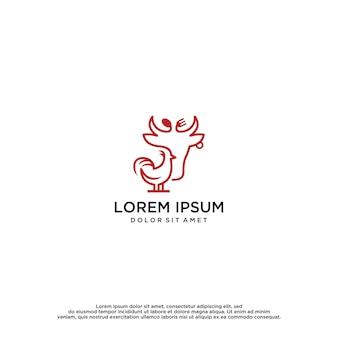 Modello di progettazione del logo di pollo e manzo
