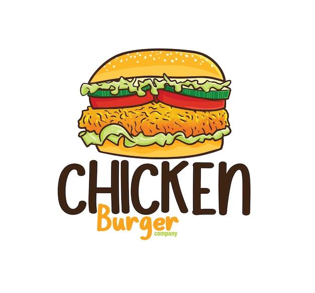 Modello di logo dell'azienda di hamburger di pollo