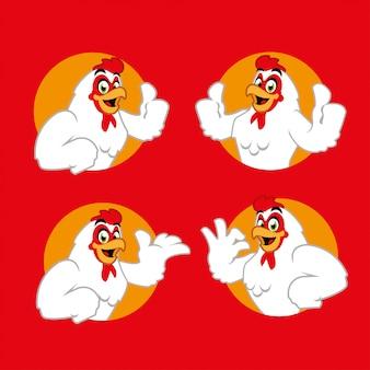 Fumetto di pollo personaggio mascotte sticker