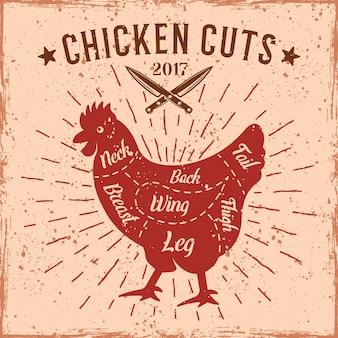 Schema di tagli di pollo in stile retrò per illustrazione di macelleria con texture grunge