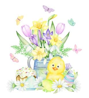 Pollo, uova di pasqua, torta, fiori, annaffiatoio. concetto di acquerello