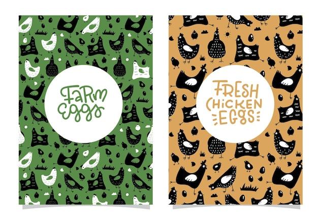 Pollo e uova fattoria prodotti freschi banner design modello gallina poster uova fresche cibo sano fattoria f...
