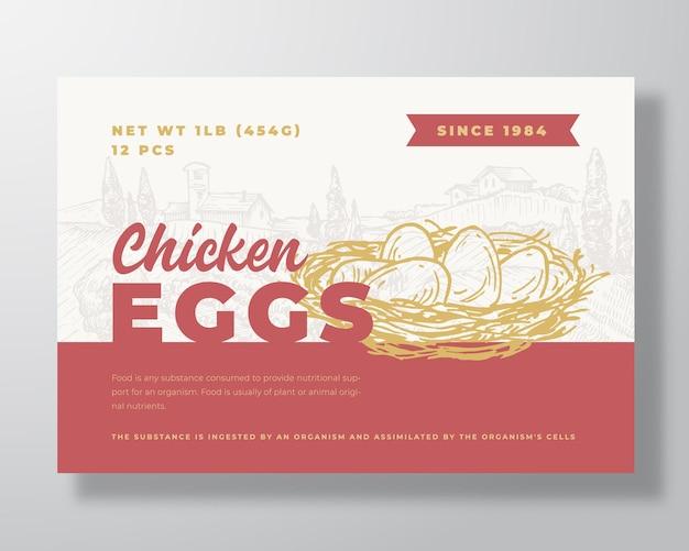 Modello di etichetta alimentare di uova di gallina