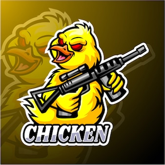 Mascotte di pollo esport logo design