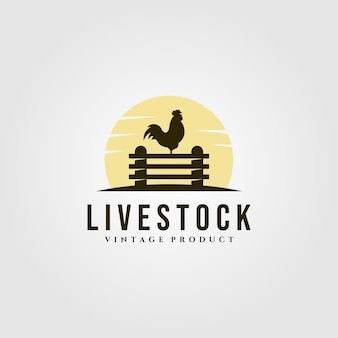 Allevamento di polli sul logo del recinto