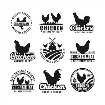 Collezione di modelli di logo di fattoria di pollo