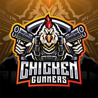 Pollo gunners mascotte logo design