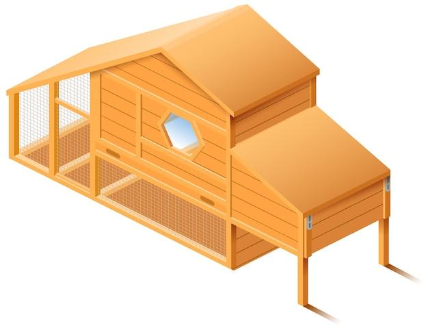 Pollaio coop isometrico isolato.