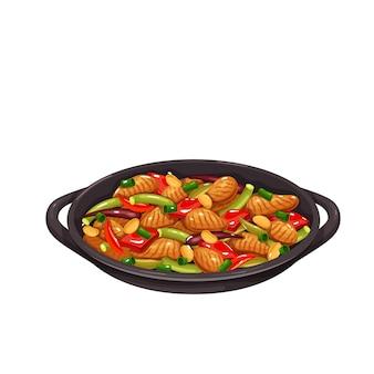 Pollo kung pao. icona della cucina cinese. illustrazione vettoriale di cibo asiatico.