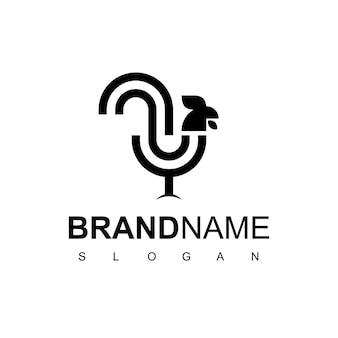 Pollo, line logo design ispirazione