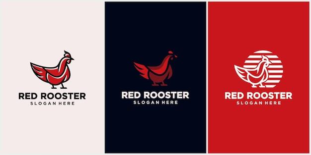 Logo di pollo con concetto di linea, mascotte gallo, allevamento di polli, illustrazione vettoriale di pollo.