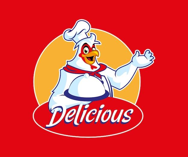 Logo di cibo delizioso mascotte di pollo
