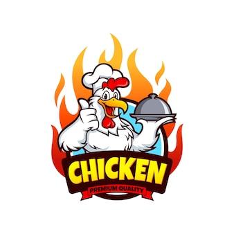 Modello di vettore di disegno di marchio di mascotte di pollo
